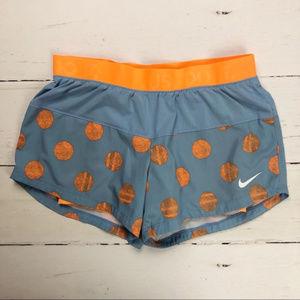 Nike Dri-Fit Running Shorts Gray Orange Dot M